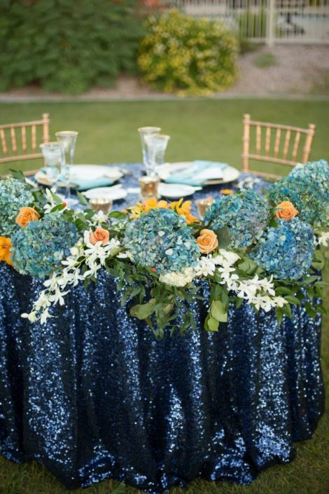 Gold, Navy, and Teal Wedding Flowers