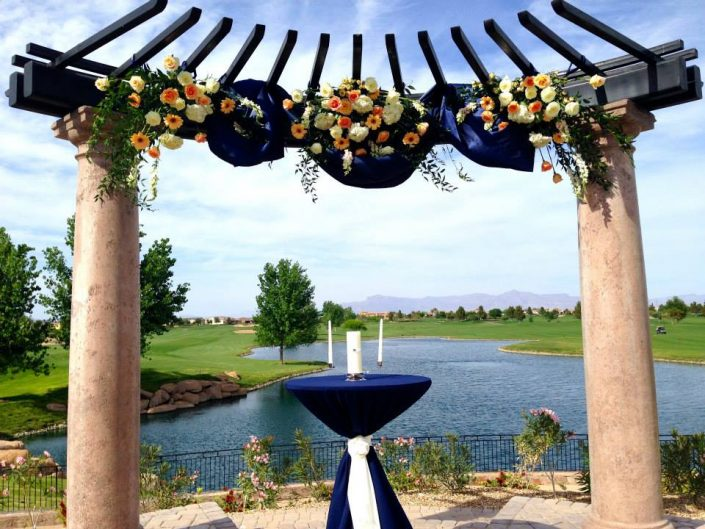 Peach and Navy Ceremony Flowers