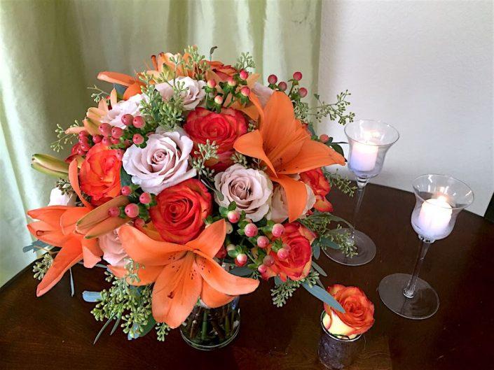 Asiatic Lilies, Sahara Roses, Circus Roses, Hypericum, Seeded Eucalyptus