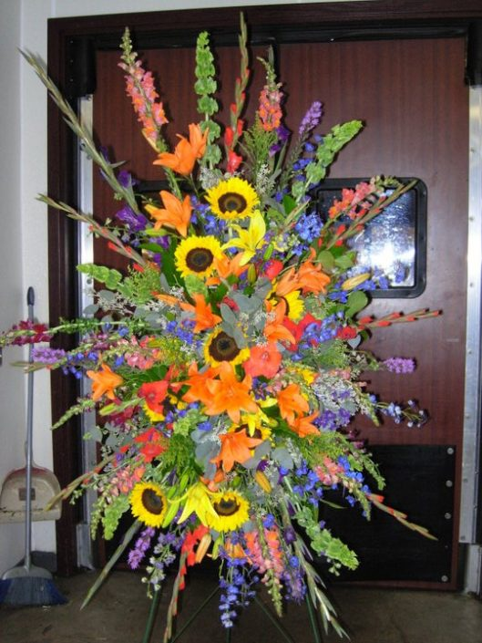 Colorful sunflower A frame arrangement